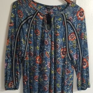 XL Lucky Brand Floral Peasant Top.